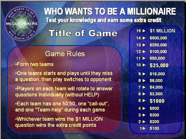 who want to be a millionaire game template powerpoint review game templates